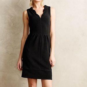 Anthropologie Maeve Ruffled Ottoman Black Dress